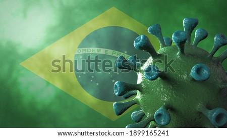 Covid brazil variant, covid-19 virus with brazilian flag. 3D Illustration.
