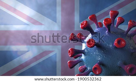 Covid british and england variant, covid-19 virus with english flag. 3D Illustration