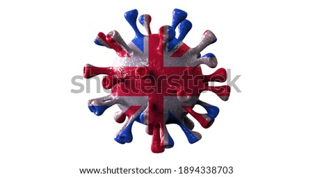 Covid british and england variant isolated on white background, covid-19 virus with english flag.