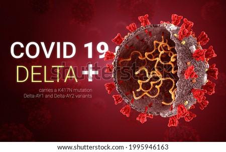 COVID 19 coronavirus Delta plus variant Sars ncov 2 2021. Delta plus Strain. Coronavirus delta plus variant. B.1.617.2 E484Q L452R. 3D illustration  Photo stock ©