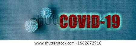 COVID-19 Coronavirus header background. Virus from Wuhan, China. panoramic banner of name text title with blue spheres concept.