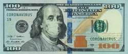 COVID-19 coronavirus in America. 100 dollars banknote with Franklin in a medical mask. The global financial and economic crisis has affected USA. American money, coronavirus concept. Realistic montage