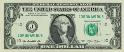 COVID-19 coronavirus in America. One dollar banknote with Franklin in a medical mask. The global financial and economic crisis has affected USA. American money, coronavirus concept. Realistic montage