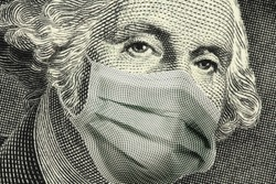 COVID-19 coronavirus in USA, Close up of ONE Dollar money bill with George Washington wearing healthcare surgical mask. Quarantine and global recession. Global economy hit by Covid19.