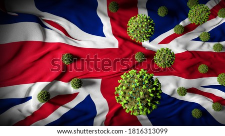 COVID-19 Coronavirus Molecules on British Flag - Health Crisis with Rise in COVID Cases - United Kingdom Virus Pandemic Casualties Abstract Background - 3D Illustration Foto stock ©