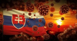 COVID-19 Coronavirus 2019-nCov virus outbreak lockdown concept concept with flag of Slovakia. 3D illustration.