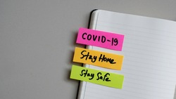 COVID-19 Coronavirus, Stay Home, Stay Safe disease illness health care message business concept.