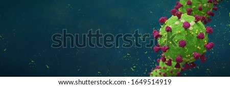 Covid-19 coronavirus, virus that causes acute respiratory infections and the common cold, Sars-CoV-2 background with copy space (3d microbiology render banner)    Stockfoto ©