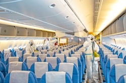 Covid-19 disease virus prevention. Airlines interior cabin deep cleaning for coronavirus.