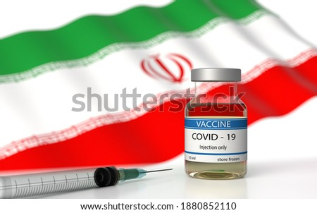 COVID 19 Iran Vaccine approved and delivered.  Iran Vaccination against Corona Virus SARS CoV 2, nCoV 2020 2021. Vaccin bottle and Iran flag. 3D illustration Stockfoto ©