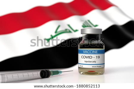 COVID 19 Iraq Vaccine approved and delivered.  Iraq Vaccination against Corona Virus SARS CoV 2, nCoV 2020 2021. Vaccin bottle and Iraq flag. 3D illustration