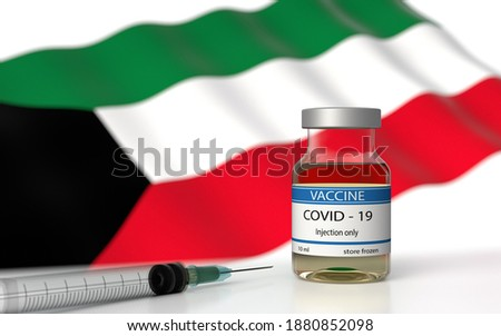COVID 19 Kuwait Vaccine approved and delivered.  Kuwait Vaccination against Corona Virus SARS CoV 2, nCoV 2020 2021. Vaccin bottle and Kuwait flag. 3D illustration