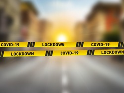 Covid-19 Lockdown concept. CORONAVIRUS LOCKDOWN. Covid-19 Pandemic world lockdown for quarantine. World many country and city under lockdown concept.