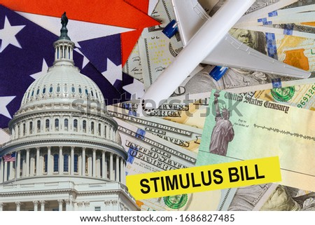 Covid 19 lockdown Coronavirus financial financial assistance to air carriers from government USA dollar cash banknote on American flag Global pandemic Photo stock ©