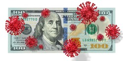 Covid-19 or Coronavirus Contaminated infected cash money, one hundred US.  Flu virus, Covid 19, Corona virus with American dollar bill, 100 USA dollar banknote under infect, pandemic, Crisis concept