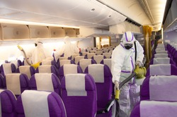 Covid-19 or Coronavirus Disease precautions by airline from deep cleaning of the aircraft cabin and all interior including lavatory
