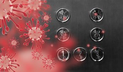 Covid-19 or Coronavirus in the elevator button.Red button with virus around the elevator or lift.Infection Control and Social distance concept.Covid19 coronavirus and pandemic virus symptoms.