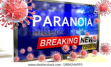 Covid, paranoia and a tv set showing breaking news - pictured as a tv set with corona paranoia news and deadly viruses around attacking it, 3d illustration Foto stock ©