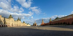 Covid-19, quarantine in Moscow, coronavirus in Russia. Large size 78 megapixels. Empty Red Square without people. Saint Basil's Cathedral, mausoleum and Kremlin.