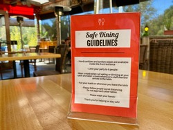 Covid Safety Guidelines for eating food at restaurants and dining