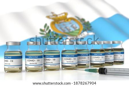COVID 19 San marino Vaccine approved and delivered.  San marino Vaccination against Corona Virus SARS CoV 2, nCoV 2020 2021. Vaccin bottle and San marino flag. 3D illustration Foto stock ©