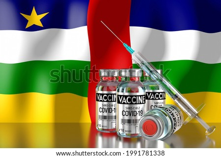 Covid-19, SARS-CoV-2, coronavirus vaccination programme in Central African Republic, four vials and syringe - 3D illustration Сток-фото ©
