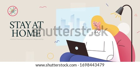 COVID-19 self-quarantine promotion banner in flat style, with a blonde girl sitting on sofa casually using laptop to prevent potential infection out of doors