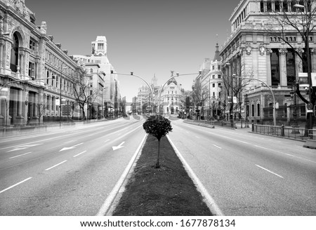 covid-19, the coronavirus, The beginning of the end, photograph of the Alcalá street in Madrid city center empty by the coronavirus quarantine, black and white photo, dystopian photo,