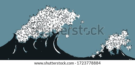 COVID-19, two waves of illness, the second wave may be worse than the first one. Foto stock ©