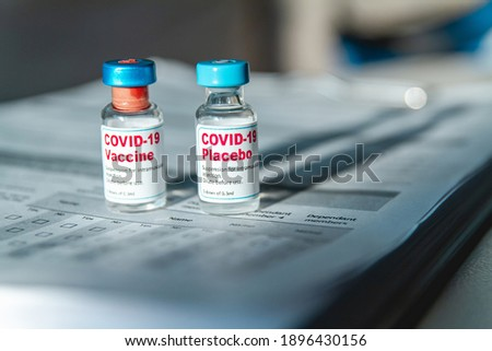 Covid 19 vaccine and placebo clinical trials and a medical records ストックフォト ©