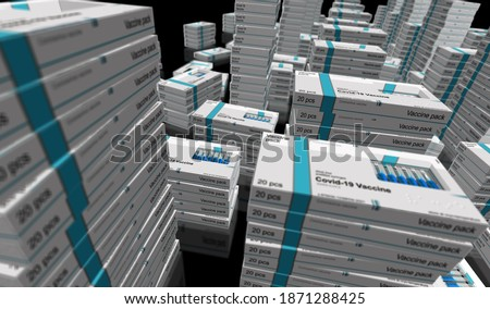 Covid-19 vaccine pack production line. Coronavirus sars-cov-2 vaccination preparation, packing and shipping. A box for syringes with doses. Abstract concept 3d rendering illustration.