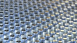 Covid Vaccine vials - Photo of COVID-19 Vaccines prepared for use in pandemic of Corona Virus. Pharma medical vaccine ampules