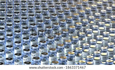 Covid Vaccine vials - Photo of COVID-19 Vaccines prepared for use in pandemic of Corona Virus. Pharma medical vaccine ampules Foto stock ©