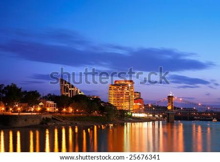 Covington Kentucky At Night, Across The Roebling From Cincinnati