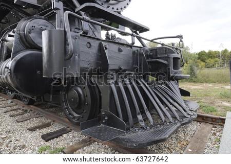 cow catcher on refurbished Canadian Railway steam locomotive