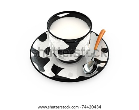 Cow design cup with milk and spoon