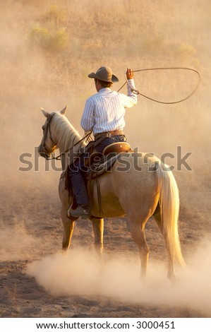 Cow getting ready to lasso a horse