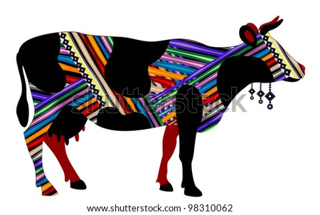 cow in ethnic style with a white background