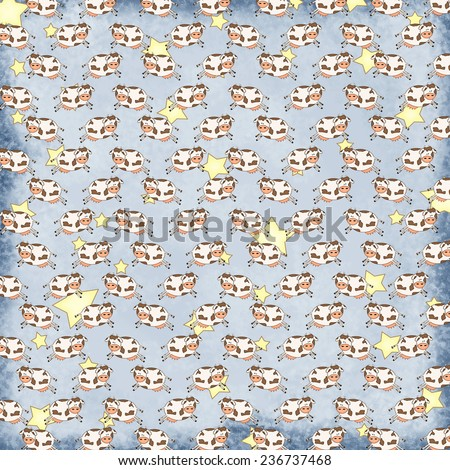 Cow Jumped Over the Moon Pattern with Stars on Blue Shabby Background