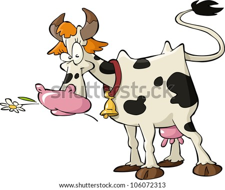 Cow on a white background raster