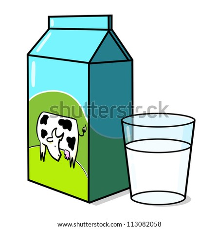 Cow on milk carton and a glass of milk illustration; Dairy product