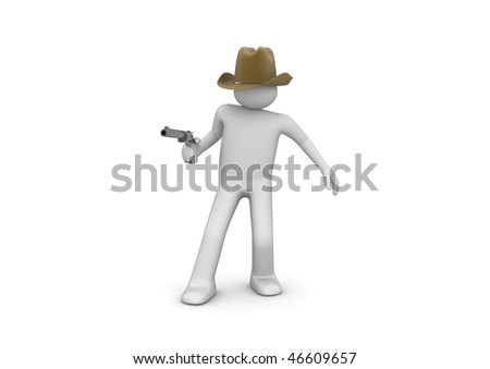 Cowboy Aiming (3d isolated characters on white background series)