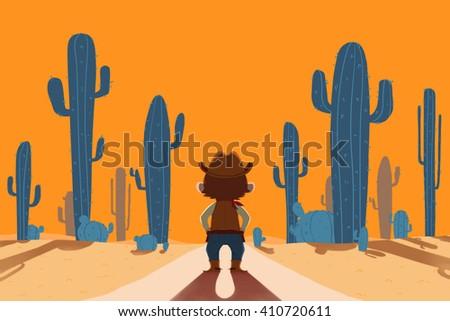 Cowboy and Desert. Creative Idea, Innovative art, Concept Illustration, Greeting Card Background, Cartoon Style Artwork