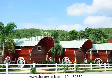 Cowboy camp house cart with nature background, House in cowboy style