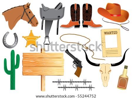 Cowboy elements. Rasterized vector - stock photo