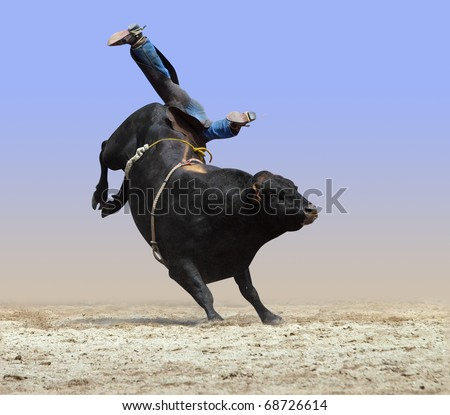 Cowboy Falling off a Bull isolated with path - stock photo