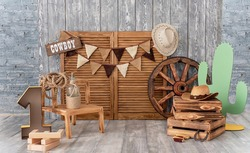 Cowboy first birthday Digital Background. Festive decoration for birthday. Cake Smash first year concept. Texas background. Decor in style of cowboy thematic photo session decoration of studio.