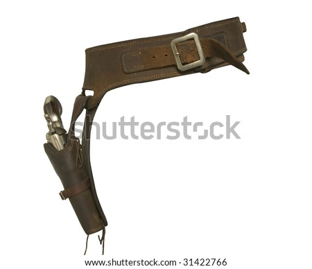 cowboy gun fighter holster isolated on white - stock photo