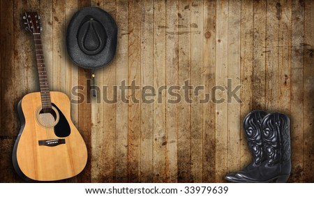 Cowboy Hat And Boots Background Cowboy Hat Boots And Guitar