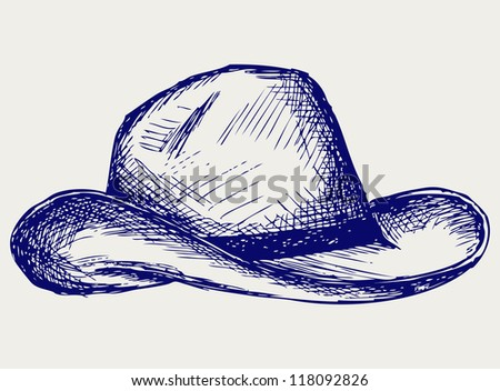 Cowboy hat. Doodle style. Raster
